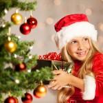 miss santa shaking a gift